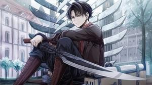 Attack On Titan Black Hair Boy Levi Ackerman Sword 3840x2160 Wallpaper