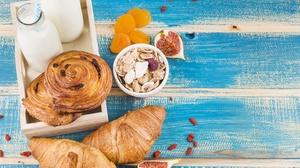 Breakfast Croissant Milk Still Life Viennoiserie 4581x3054 Wallpaper