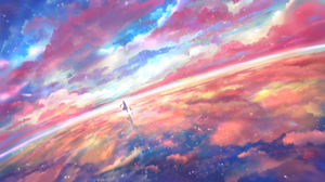 Reflection Water Clouds Silhouette Stars Cats Sakimori 1920x1080 Wallpaper
