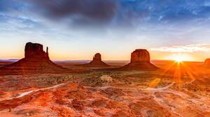 Desert Horizon Landscape Monument Valley Rock Sunbeam Sunrise Utah 2048x1368 Wallpaper