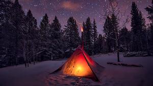 Camping Forest Light Night Snow Starry Sky Stars Tent Winter 2048x1365 wallpaper