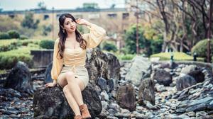 Asian Model Women Long Hair Dark Hair Trees Stones Depth Of Field Skirt Blouse Earrings Building Sho 3840x2559 Wallpaper