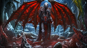 Death Man Red Eyes Vampire White Hair Wings 1920x1197 Wallpaper