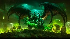 Fantasy Art Creature Horns Glowing Eyes Wings Demon Illidan Stormrage 5100x2705 Wallpaper