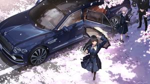 Schoolgirl Original Characters Anime Girls Anime Bentley Car High Angle Katana Cherry Blossom Umbrel 4212x2512 Wallpaper