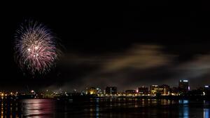 Night Fireworks 3918x2074 Wallpaper