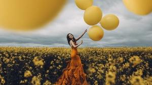 Woman Model Girl Mood Orange Dress Brunette Balloon Yellow Flower Field Flower Horizon Cloud 2048x1638 Wallpaper