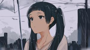 Anime Girls Original Characters Brunette Rain Umbrella Arttssam 1920x1080 Wallpaper
