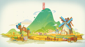 Jun Zhang Asian Architecture White Background Pigs Digital Art Windmill Farm Scarecrows Mountains 1920x1008 Wallpaper