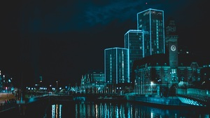 City Night Neon Blue River Water Reflection Modern Architecture Cityscape Dark Colorful Building Urb 3120x2080 Wallpaper