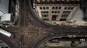 Aerial Railroad Train 2048x1152 wallpaper