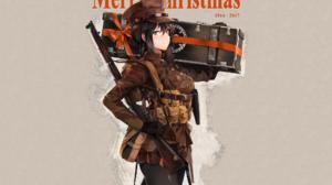 Anime Blush Girl Glove Gun Hat Pantyhose Skirt Smile Weapon 2016x1344 Wallpaper