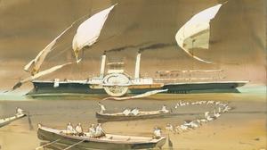 Ship Water Boat Painting Watercolor Artwork Sailing Ship Rowing Birds Alexander Votsmush Sailor Stea 5370x3839 Wallpaper