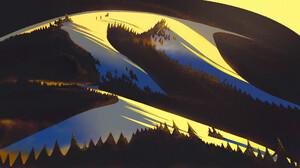 Li Ming Digital Art Abstract Landscape Trees Forest Shadow Mountains 1920x1071 Wallpaper