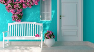 Artistic White Bench Rose Pink Rose Teal 1920x1200 wallpaper