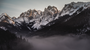 Nature Landscape Trees Forest Dark Mist Mountains Snowy Mountain Clouds Sky Sunlight Tyrol Austria 1920x1080 Wallpaper