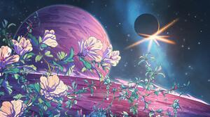 Christian Benavides Digital Art Fantasy Art Flowers Space Eclipse Planet Stars 3840x2160 Wallpaper