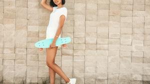 Alex Siracusano Model Women Brunette T Shirt White T Shirt Shorts Legs Sneakers Skateboard Hands In  5184x3888 wallpaper