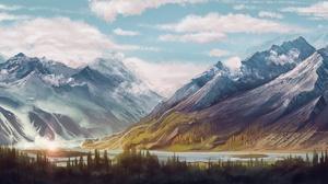 Nature Mountain River Cloud Artistic 2500x1080 Wallpaper