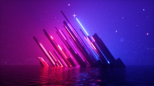 3D Abstract 3D Abstract Colorful Neon Lights Glowing Stars Water Reflection Render Laser Landscape 5000x2813 Wallpaper