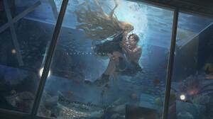Digital Art Beonger Mermaids Fish Fish Tank Aquarium One Piece Portgas D Ace 1800x1090 Wallpaper