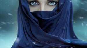 Alessandro Di Cicco Women Shawl Dark Hair Blue Eyes Makeup Portrait Snow 1365x2048 Wallpaper