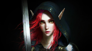 Elf Girl Hood Pointed Ears Red Hair Sword Woman Warrior 3840x2160 wallpaper