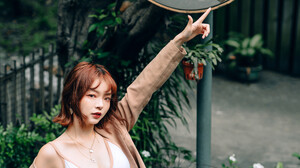 Asian Women Model Looking At Viewer Necklace Parted Lips Mirror Reflection White Tops Pants Coats Po 4024x6048 Wallpaper