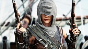 Women Gun Pirates Weapon Hoods Combat Assassins Medieval 3D Covered Eyes Armor Closeup Assassins Cre 7000x3784 Wallpaper