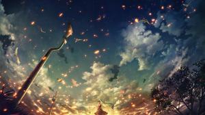 Girl Original Anime Long Hair Sky Bird Sunset 2420x1550 Wallpaper