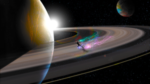 Planet Saturn Photo Manipulation Stars Space Space Art Planetary Rings 2560x1440 Wallpaper