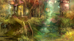 Artistic Forest House Magical Windmill 2422x1816 Wallpaper