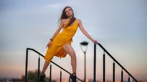 Dmitry Shulgin Women Model Standing Legs Dress Yellow Dress Looking At Viewer Women Outdoors Outdoor 2048x1365 Wallpaper