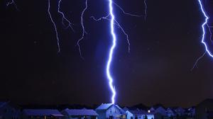 Lightning House Night Sky Digital Art 1920x1128 Wallpaper
