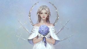Woman White Hair 3000x1550 Wallpaper