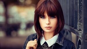 Model French Depth Of Field Short Hair Brunette Blue Eyes 2048x1367 Wallpaper