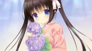 Blue Eyes Brown Hair Carnation Headband Kimono Long Hair Rainbow Smile Twintails 2488x2184 Wallpaper