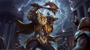 Smite Thor Smite Watermarked Anthro Weapon Wolf Lightning Gauntlets Gloves Pointy Teeth Storm Armore 1600x900 Wallpaper