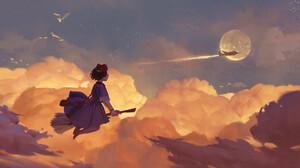 Lee Su Yeon ArtStation Artwork Digital Art Fantasy Art Flying Clouds Plains Moon Broom Birds 1920x1224 Wallpaper