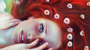 Blue Eyes Face Freckles Girl Red Hair Woman 2880x1920 Wallpaper