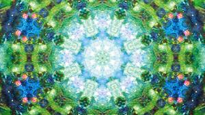 Abstract Artistic Blue Digital Art Green Mandala Manipulation Mosaic 1920x1080 Wallpaper