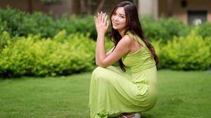 Asian Women Model Long Hair Brunette Green Dress Grass Bushes Building Depth Of Field 3840x2559 wallpaper