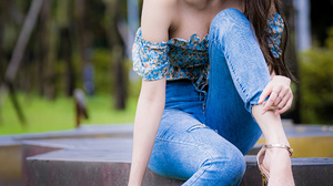 Asian Model Women Women Outdoors Long Hair Dark Hair Sitting Jeans Depth Of Field Barefoot Sandal He 2560x3840 Wallpaper