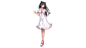 Black Eyes Black Hair Girl Long Hair Original Anime White Dress 6000x3301 Wallpaper