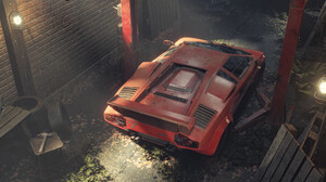 Pavel Golubev Lamborghini Lamborghini Countach Digital Art Car Vehicle Red Cars 2420x1100 Wallpaper