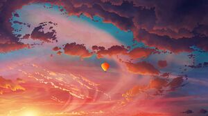 Artwork Balloon Hot Air Balloons Clouds Sunset 1920x1200 Wallpaper