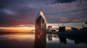 Ship Water Clouds Harbor Ropes Sea Sunset Hangar Submarine Reflection Queen Mary 2 Long Beach 1920x1080 Wallpaper
