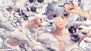 Anime Anime Girls Long Nails Black Nails Blonde Flowers Looking At Viewer Trees Earrings Short Hair  1900x1389 Wallpaper
