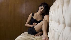 Freida Pinto Women Actress Feet Legs Indoors Sitting Indian Dark Hair Black Dress Indian Women 2600x1733 wallpaper