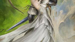 Daniel Kamarudin Artwork Fantasy Art Fantasy Girl Women Blonde Girls With Swords Sword Weapon Green  1000x1414 Wallpaper